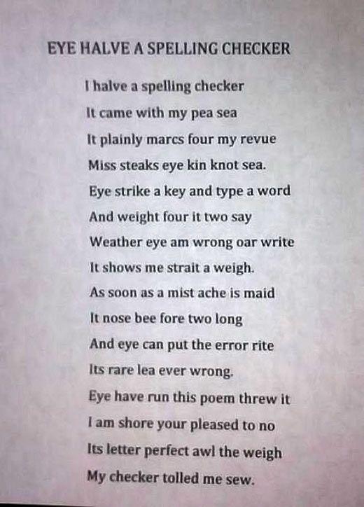 The Spelling Checker Poem Grammar Humor Teacher Humor Words