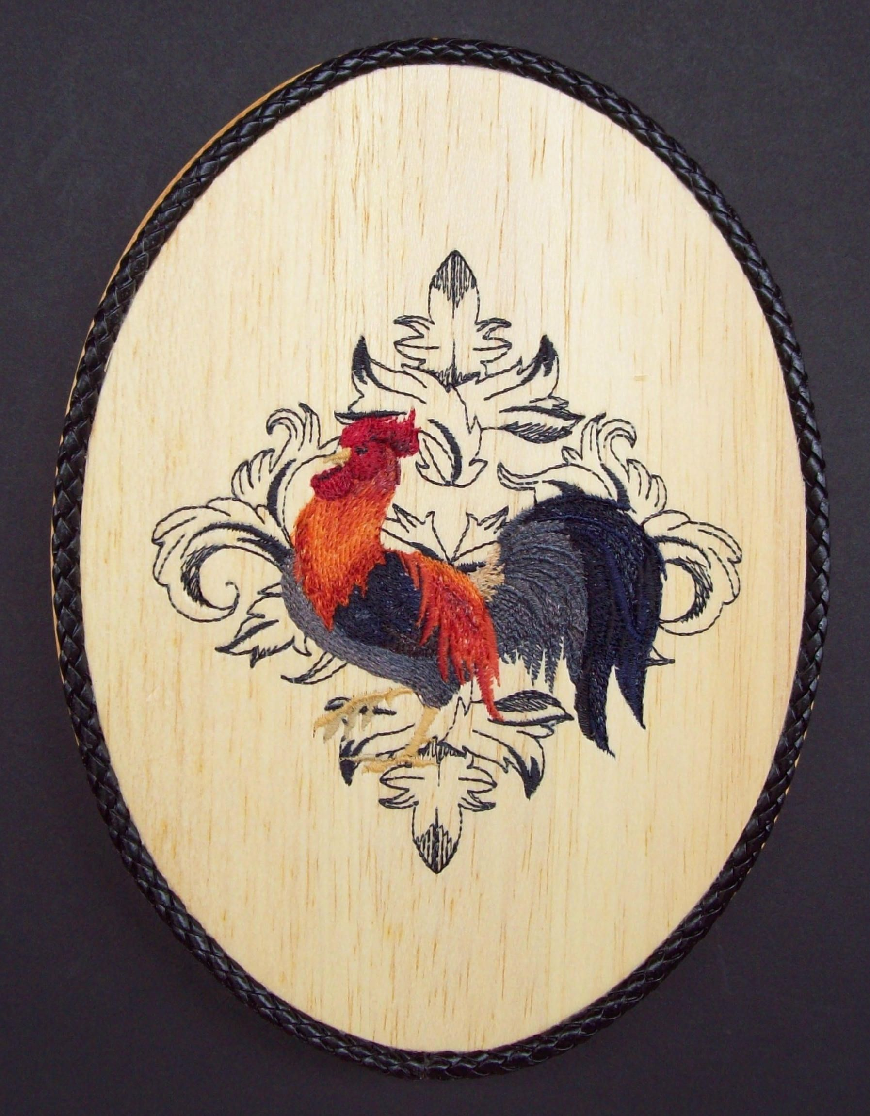 Gallic rooster embroidery wood art kitchen wall decor country