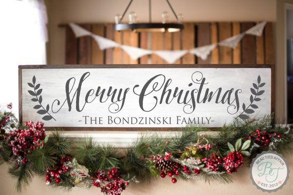 Custom Listing for GINGER - Merry Christmas Family Name Sign - Rustic Christmas Decoration - Christmas Home Decor