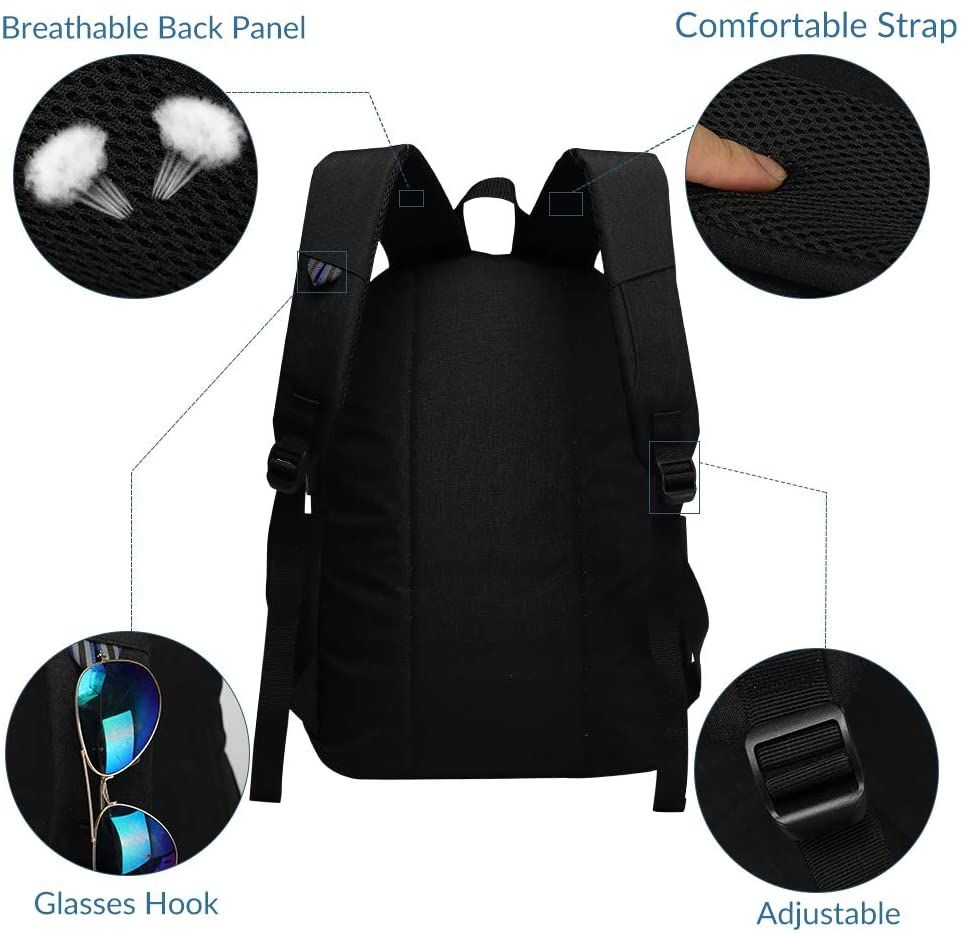 Morbius Dark Grey Backpack Glow in Dark USB Charging Port Bag 17 inch for School