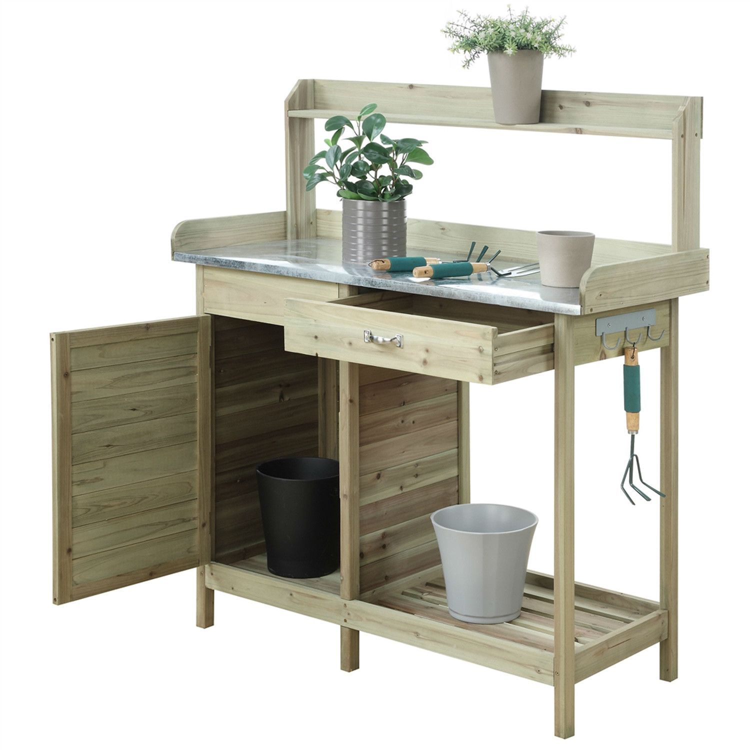 Stainless Steel Table Top Natural Fir Wood Potting Bench With Stainless Steel Table Top