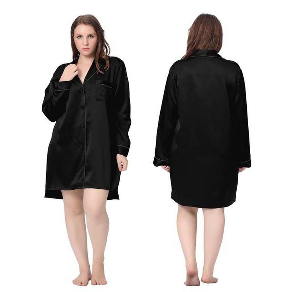 2b617d25d6 Nightshirts for Women 100% Silk Nightgown Plus Size 22 Momme Classic Sexy Night  Shirt With Buttons Luxury Bride Large