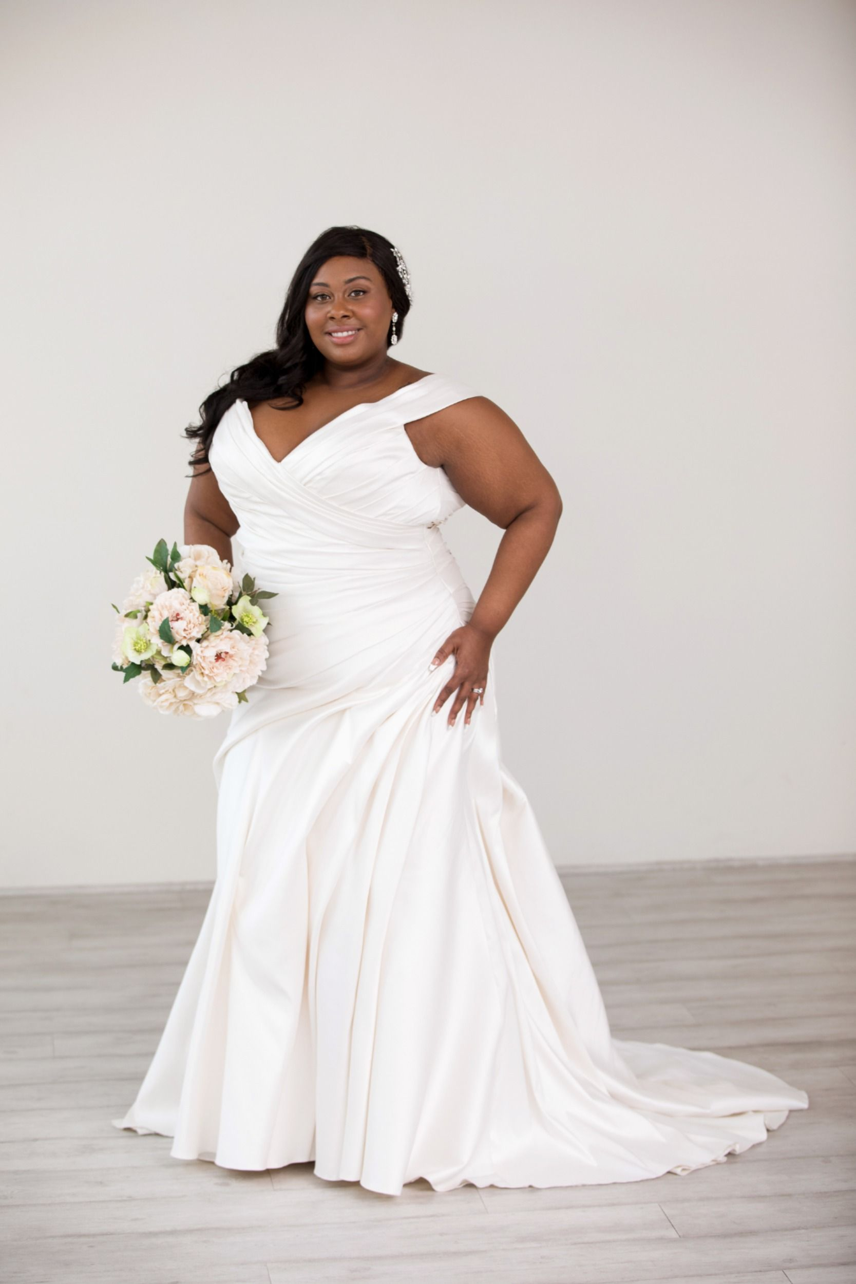 Mikado Off The Shoulder Fitted Plus Size Wedding Gown Wedding Dresses Wedding Dresses Plus Size Plus Size Wedding Gowns [ 2500 x 1667 Pixel ]