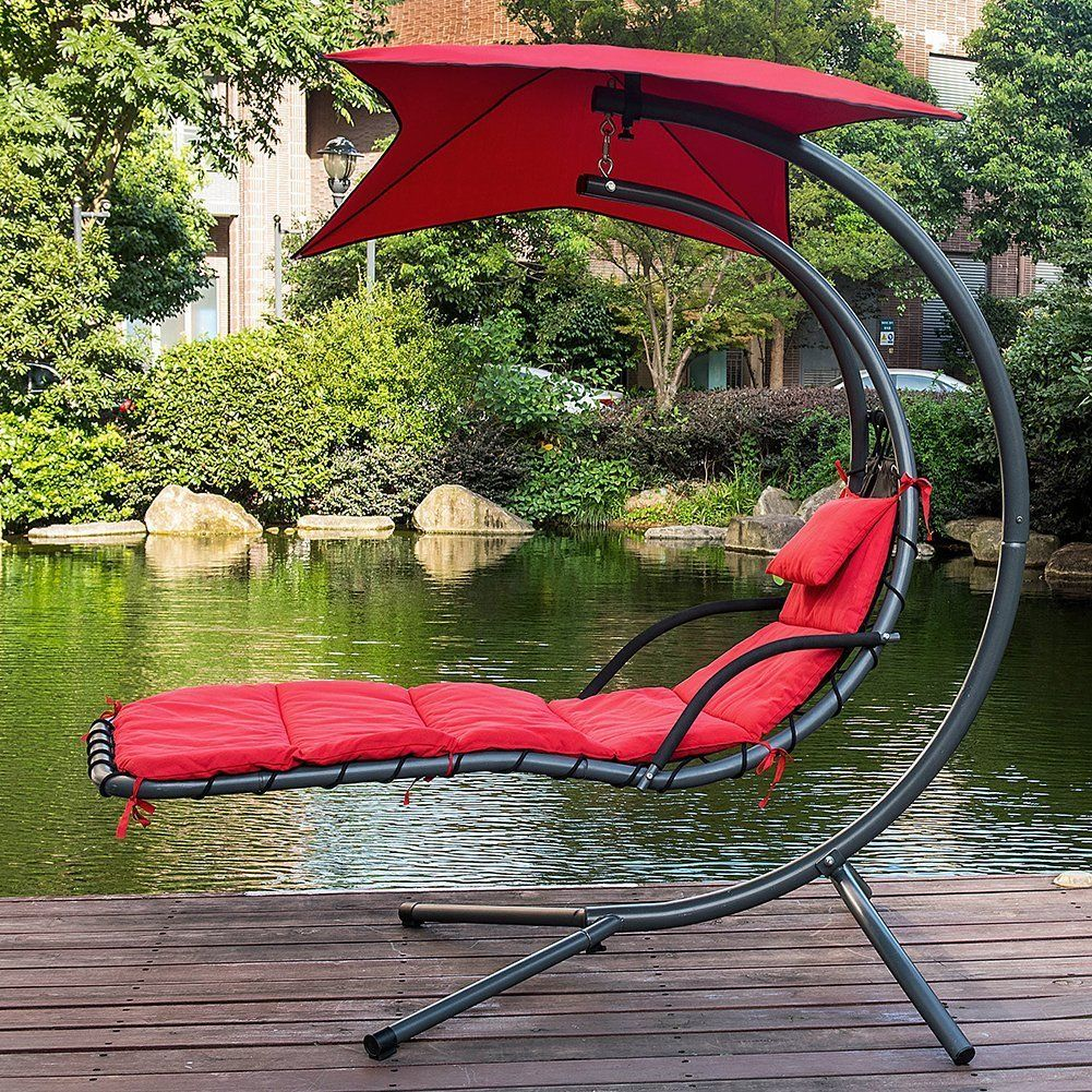 Patio Beach Garden Hanging Chaise Lounge Hammock Swing Chair Outdoor w//Umbrella