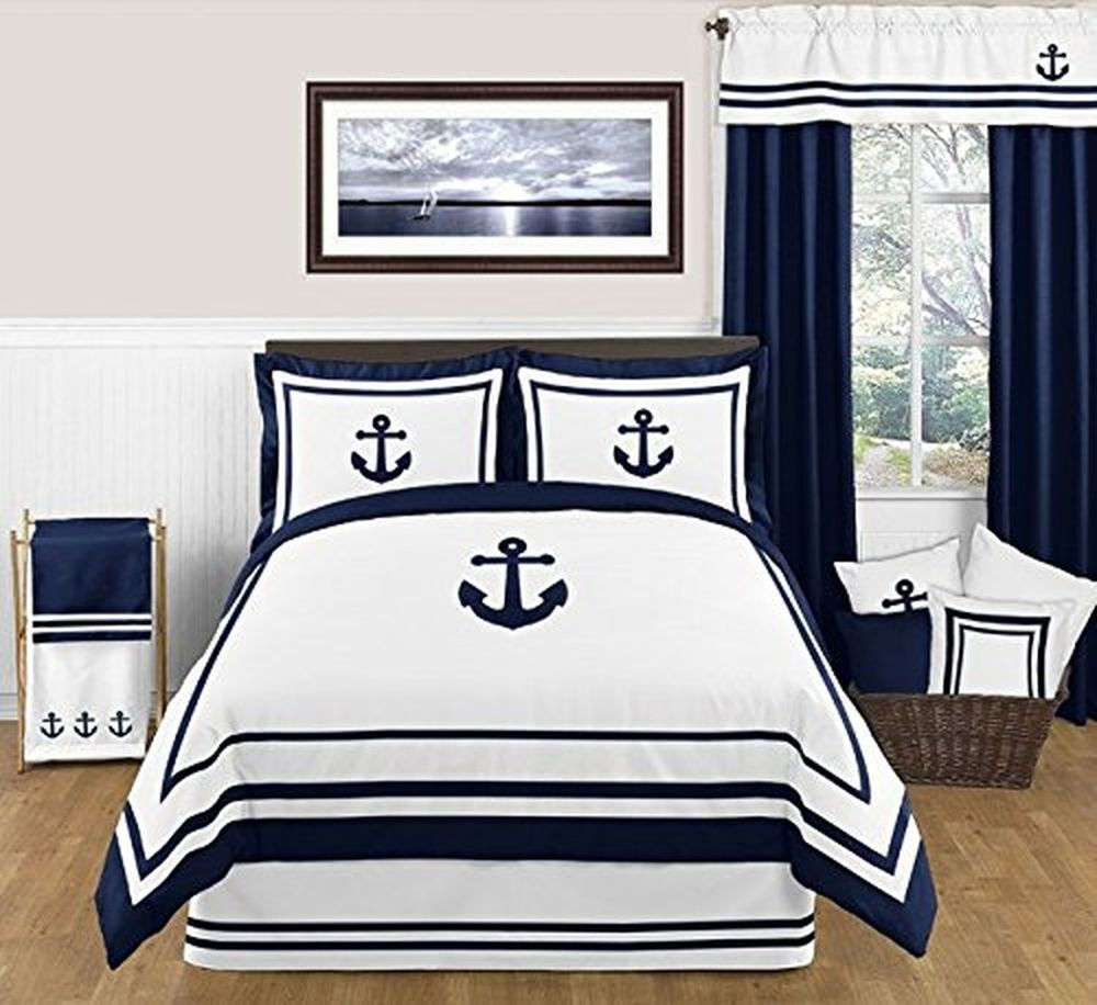 Anchors away nautical navy and white boys piece full queen