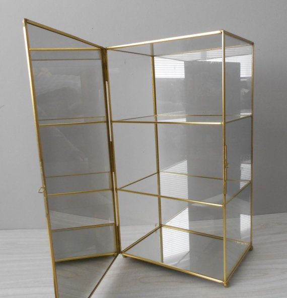 Large Vintage Brass Glass Mirror Curio Box / Store By Simplychi