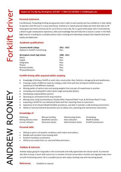 Entry level forklift driver resume template Supper Nanny - high school resume template download