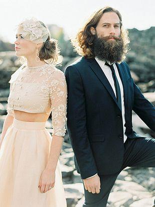 blush pink two piece wedding dress   www.onefabday.com