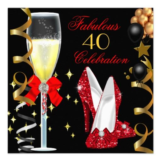 Red Black Gold 40 Fabulous 40th Birthday Party Custom Announcements Invitations By Zizzago