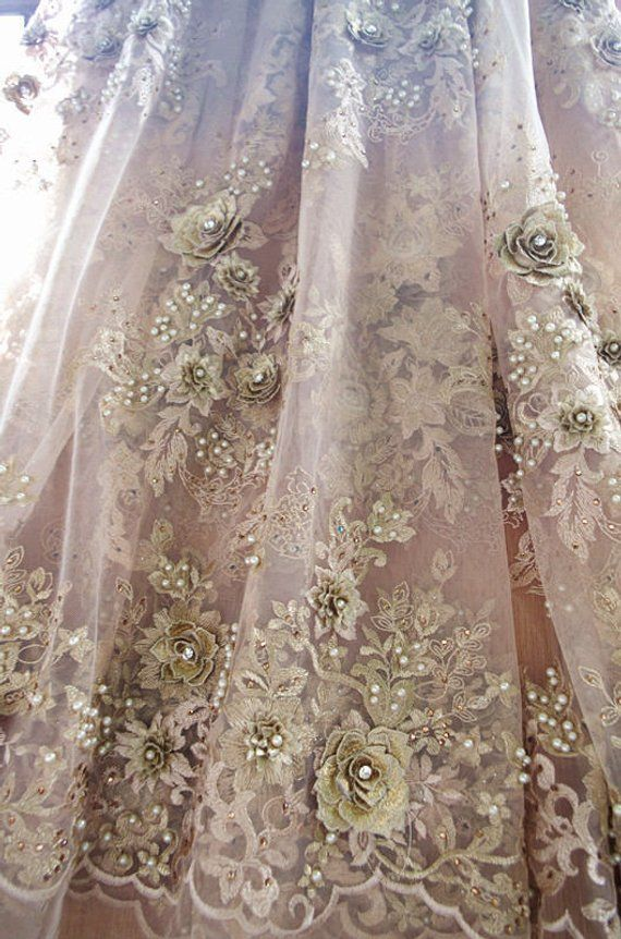 heavy beaded Lace Fabric metallic gold beaded embroidered French lace fabric bridal lace fabric for wedding haute couture