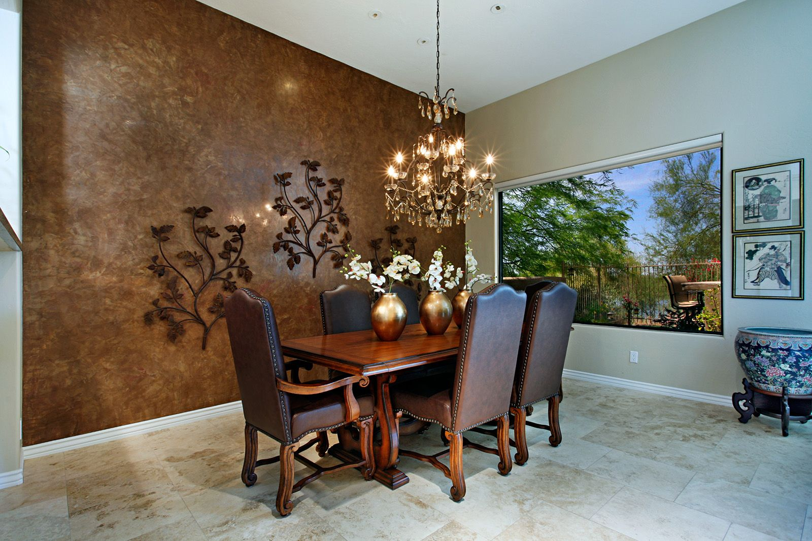 This Formal Dining Room In DC Ranch Wows With Travertine Tile Floors Accent Wall