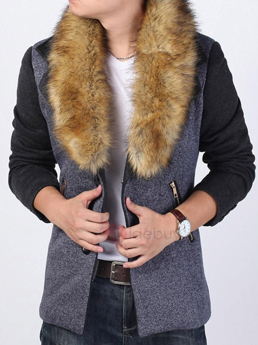 7ffb2a57909  BFCM  CyberMonday  TideBuy -  TideBuy Faux Fur Collar Patchwork Slim Mens  Winter