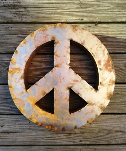 18 Inch Peace Sign Metal Vintage Look Rusted Industrial Steampunk