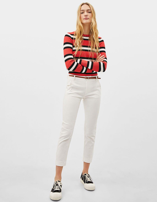 pantofi de temperament o noua sosire adidași ieftin Pantaloni chino cu curea   w i s h l i s t in 2019   Pants, White ...