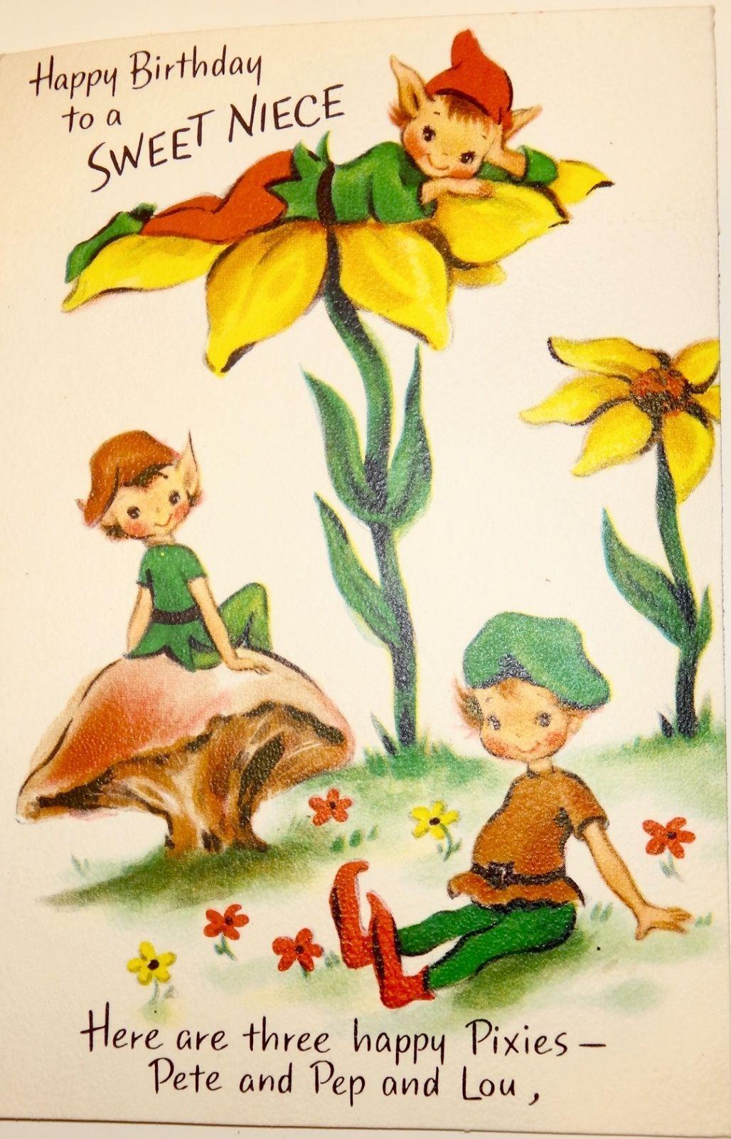 Vintage Birthday Greeting Card Niece Pixies Elves Hallmark