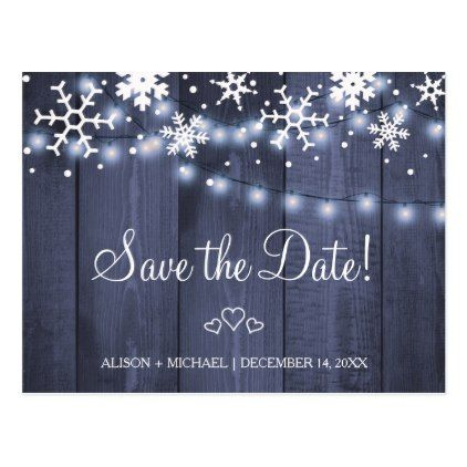 snowflakes rustic hanging lights wedding save date postcard winter