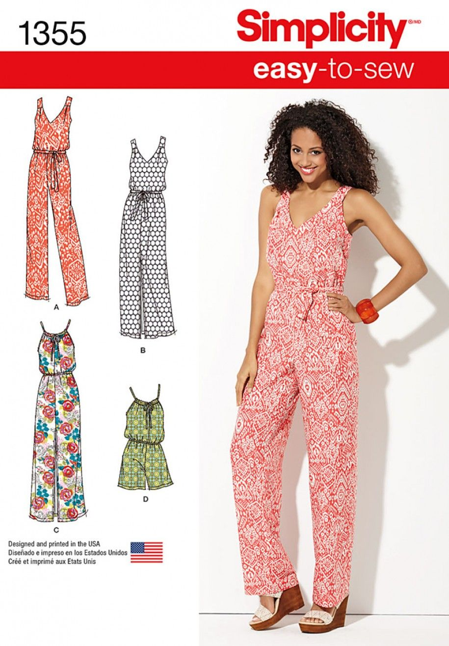00be992a49 Simplicity 1355 Misses  Maxi Dress and Long or Short Jumpsuit Sewing Pattern