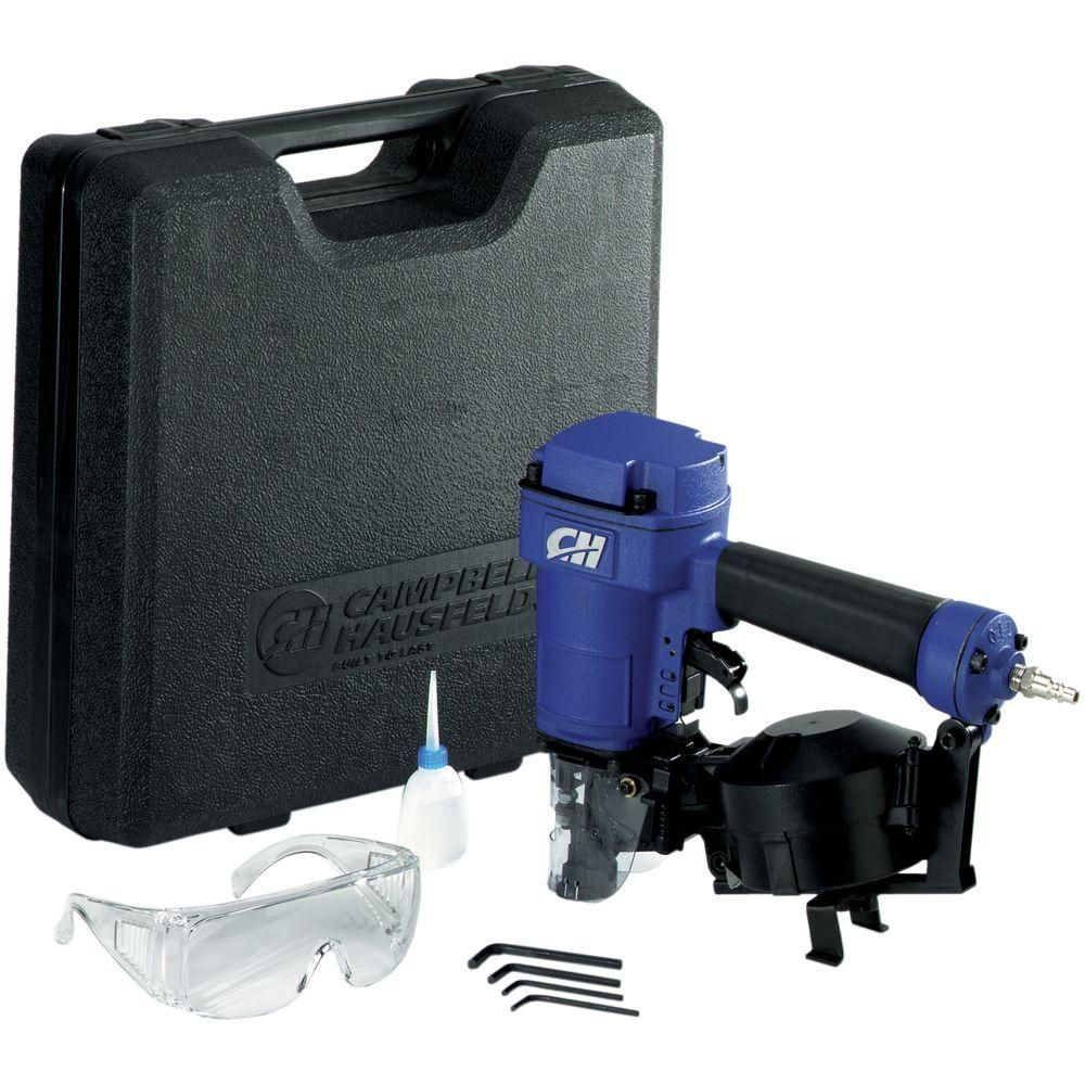 Pneumatic 15 Degree Coiled Roofing Nailer with Kit and