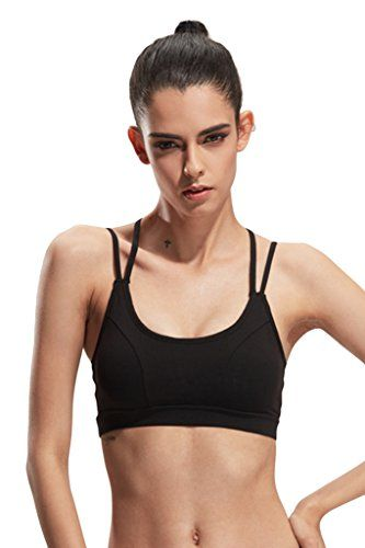 813150533a9b Lasher Womens Mini Strappy Criss Cross Back Quick Dry Yoga Sport Underwear  Bra Black M -- Learn more by visiting the image link.