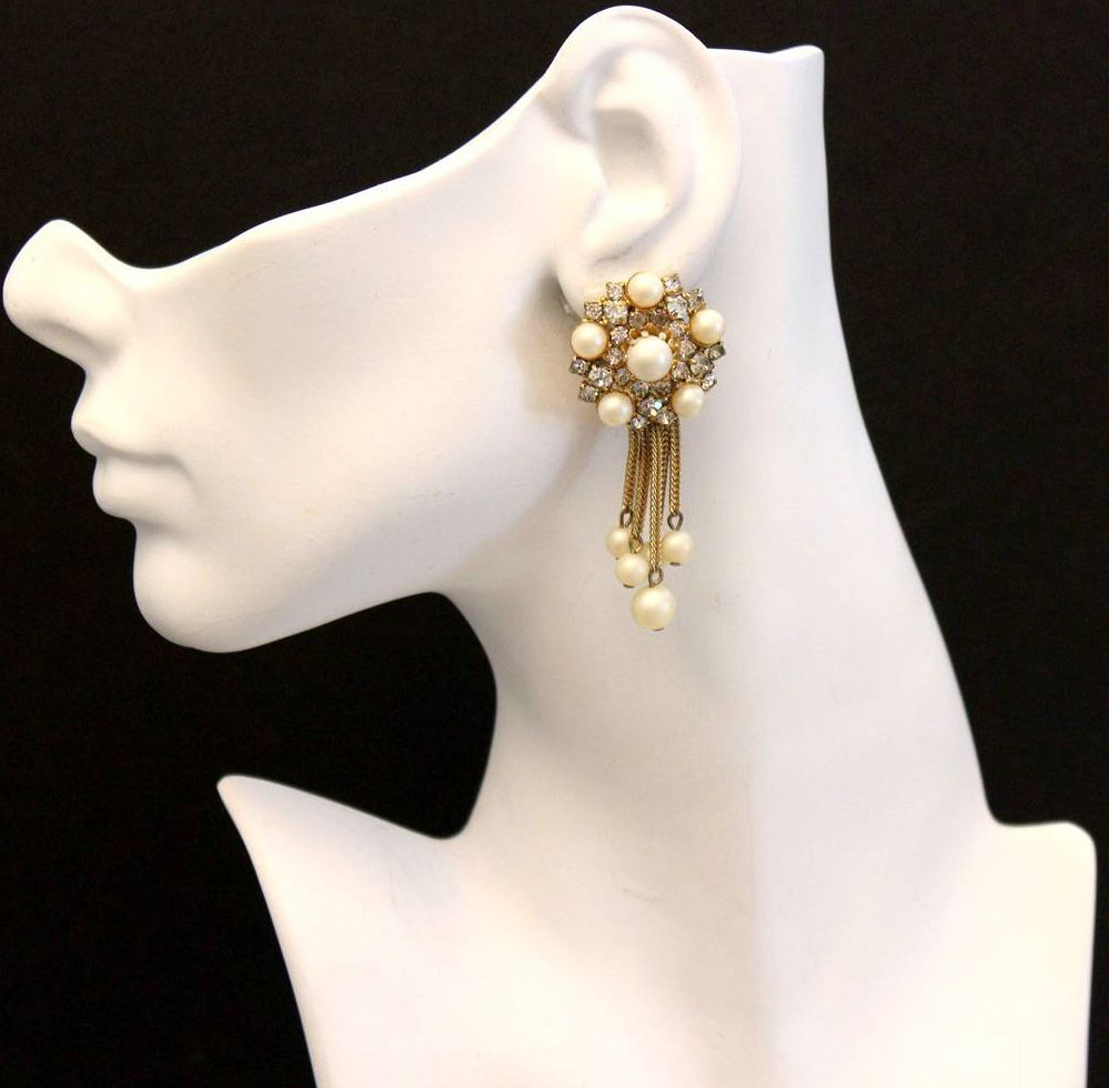 Hobé - Bijoux Vintage - Boucles d'Oreilles 'Pendeloques' - Perles Imitation et Strass - 1955