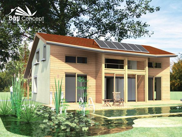 Projet de maison bioclimatique moderne et intemporel en ossature - Cout Annexe Construction Maison