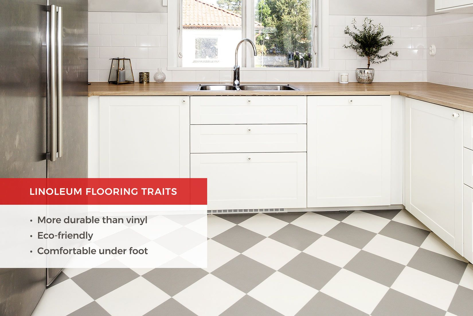 Linoleum Kitchen Flooring Is Water Resistant And Eco Friendly Read On To Learn More About Types Of Ki With Images Kitchen Flooring Best Flooring For Kitchen Cool Kitchens