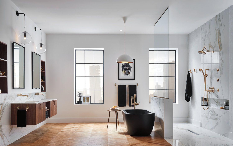 Brizo Litze Collection Minimal Modern Bathroom Showroom Interior With Black  Tub And Brass Fixtures