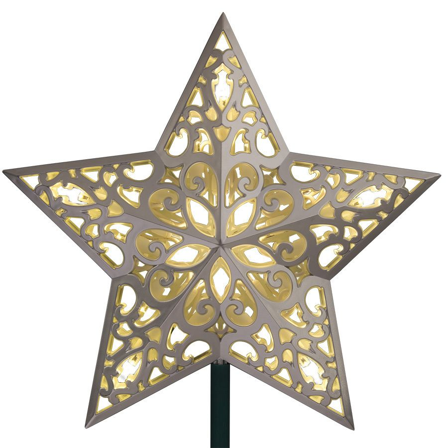 GE 9.75-in Pre-lit White LED Plastic Star Silver Christmas ...
