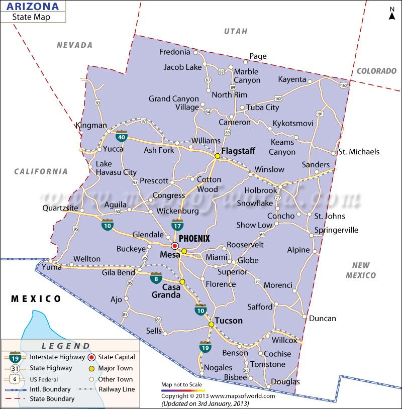 State Map Of Arizona US States Pinterest Capital City - Map of arizona counties and cities