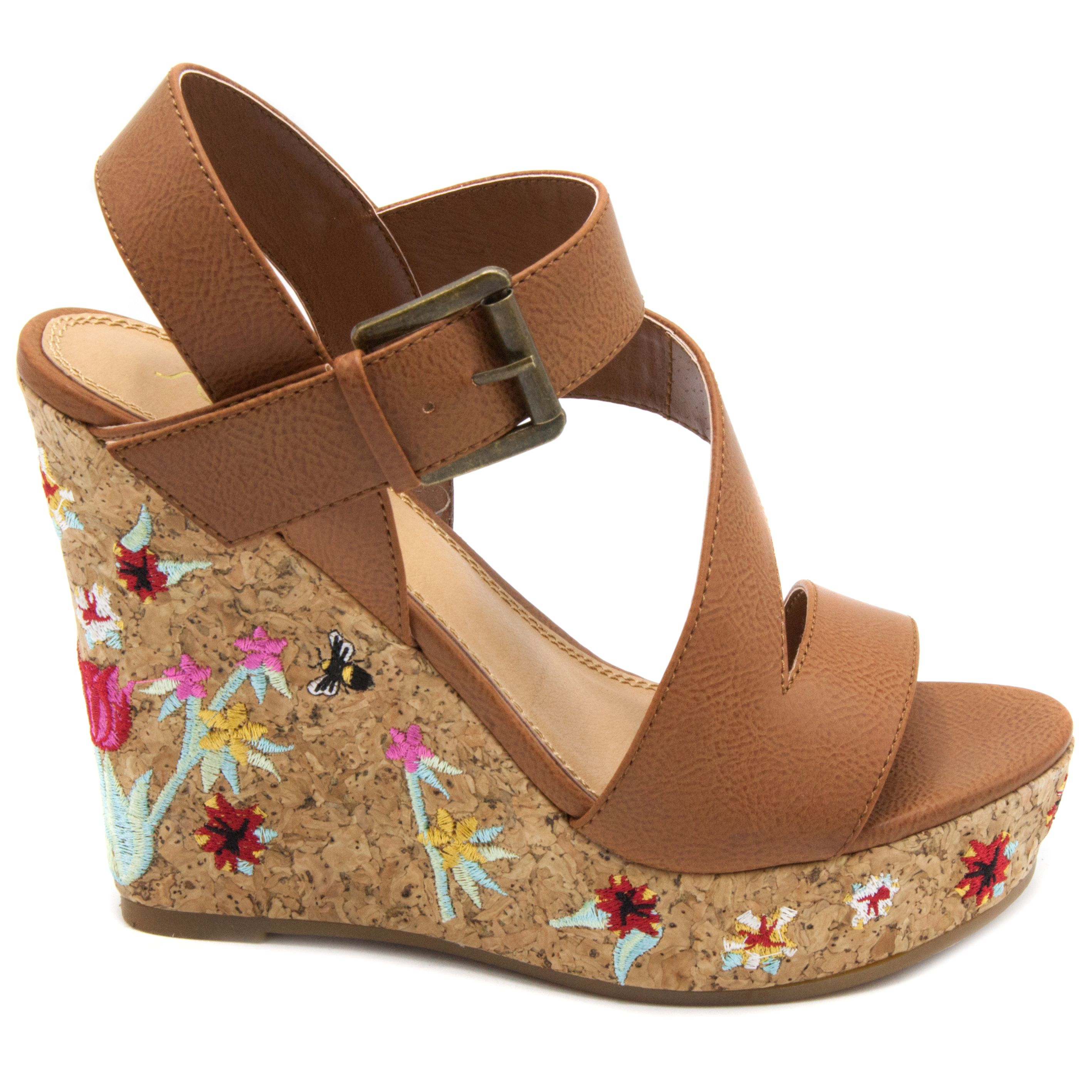 632c9f86c Cork wedge with embroidery on the heel in a natural color sandal. So fun  for summer! Sugar