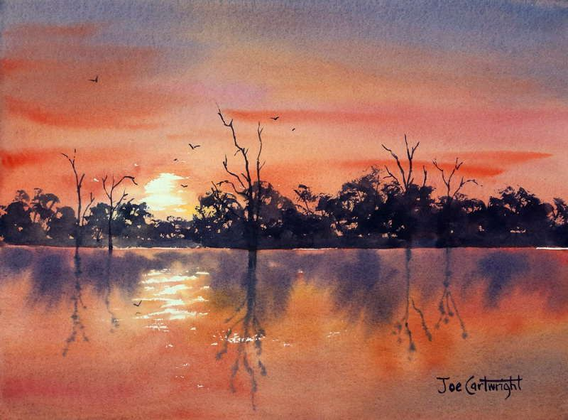 Lake Bonney Sunset Watercolor Painting For Sale AUD300