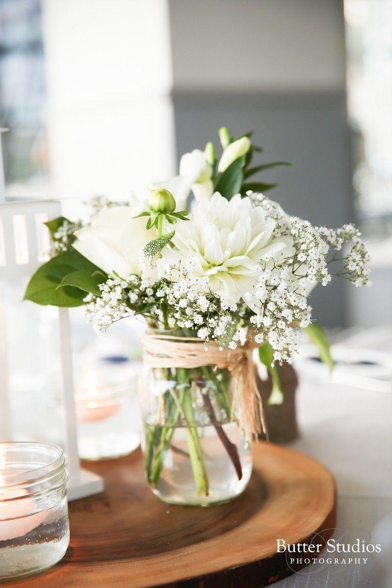 Mason Jar Wedding Flowers Different White Flower Mason Jar Wedding Center Pie Mason Jar Flower Arrangements Flower Centerpieces Wedding Wedding Table Toppers