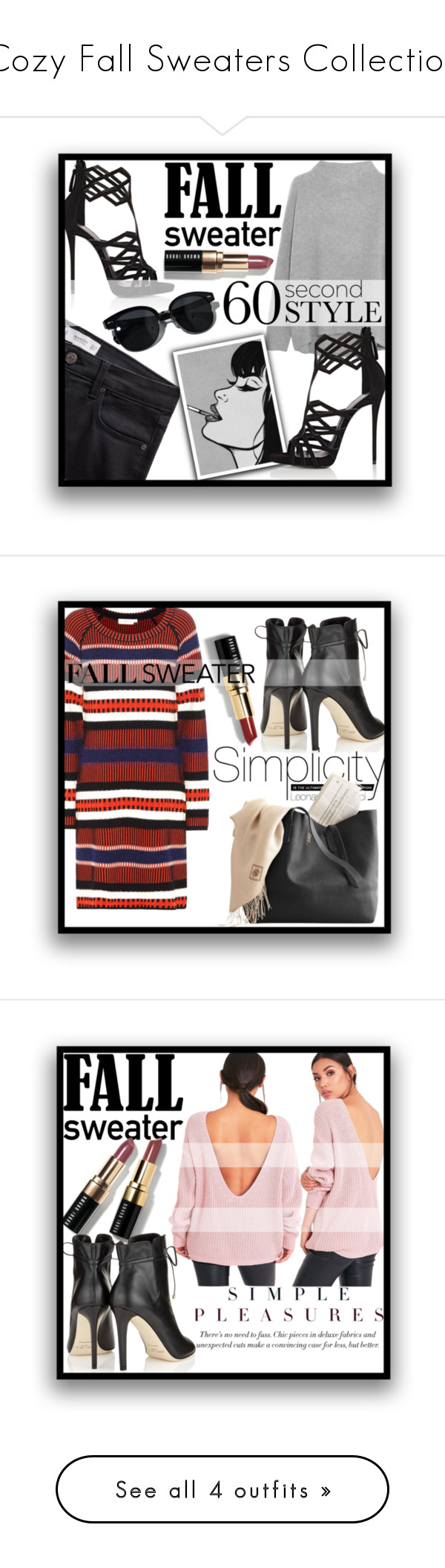 """Cozy Fall Sweaters Collection"" by mistressofdarkness on Polyvore featuring Vince, MANGO, Giuseppe Zanotti, Bobbi Brown Cosmetics, Oliver Peoples, Tory Burch, Jimmy Choo, ESCADA, Pierre Hardy and Gucci"