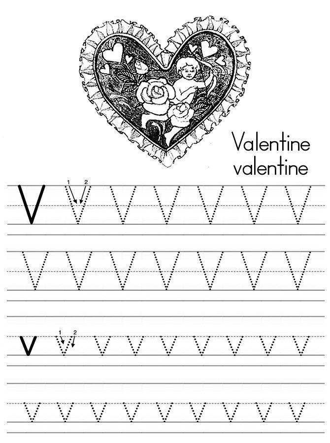 Alphabet Abc Letter V Valentine Coloring Page  ThemeValentines