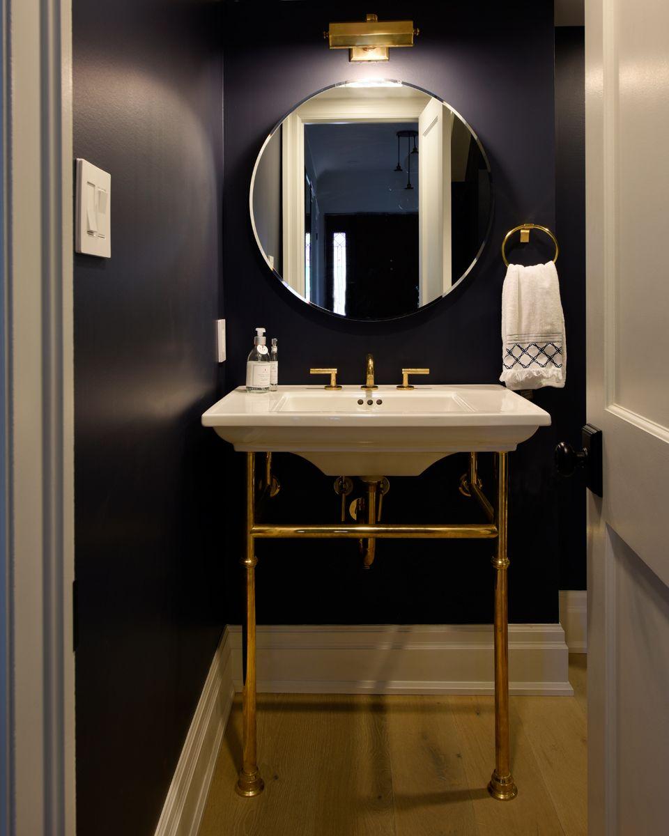 Navy Blue Walls Circular Mirror And Exposed Vanity Tanya Collins Design Contemporary Bathroom Vanity Bathroom Interior Design Bathroom Decor [ 1200 x 960 Pixel ]
