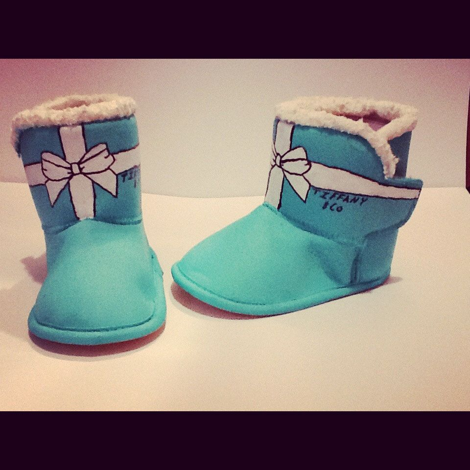 bdba03b8b8a Hand Painted Tiffany & Co Bow Kids Uggs Snow Boots Swarovski Tiffany ...