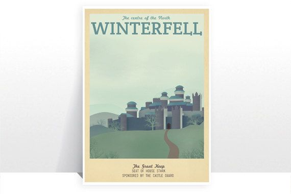 Retro Travel Poster - Game of Thrones - Winterfell - MANY SIZES Modern Vintage Stark Lannister Jon Snow Tyrion Daenerys Typography Art Print