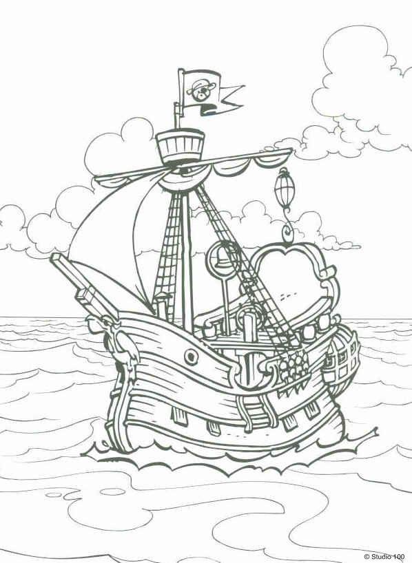 Kids-n-fun | Kleurplaat Piet Piraat Het piratenschip | Coloring ...