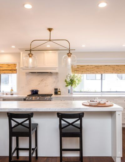 White Shaker Cabinets & Carrera Marble Kitchen Remodel Pacific Palisades #whiteshakercabinets