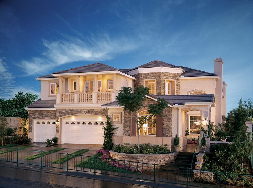 2 story homes with balconies home design features an Two story house plans with balcony