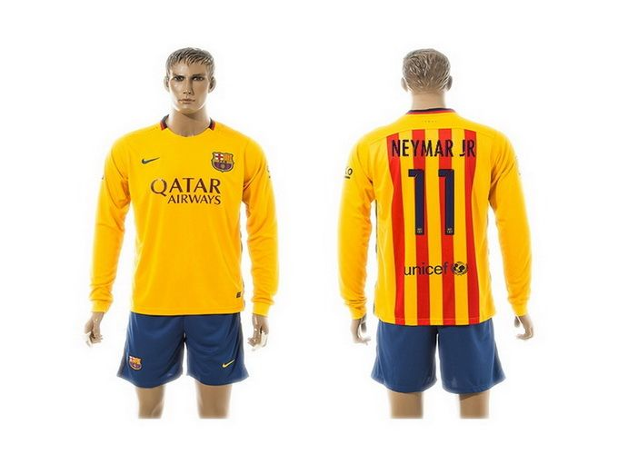 ad58db891 2015-2016 Barcelona 11 NEYMAR JR Away Yellow Long Sleeve Soccer Jersey