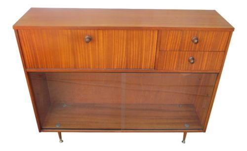 Mid modern teak miller eames style bookcase credenza for Less expensive furniture