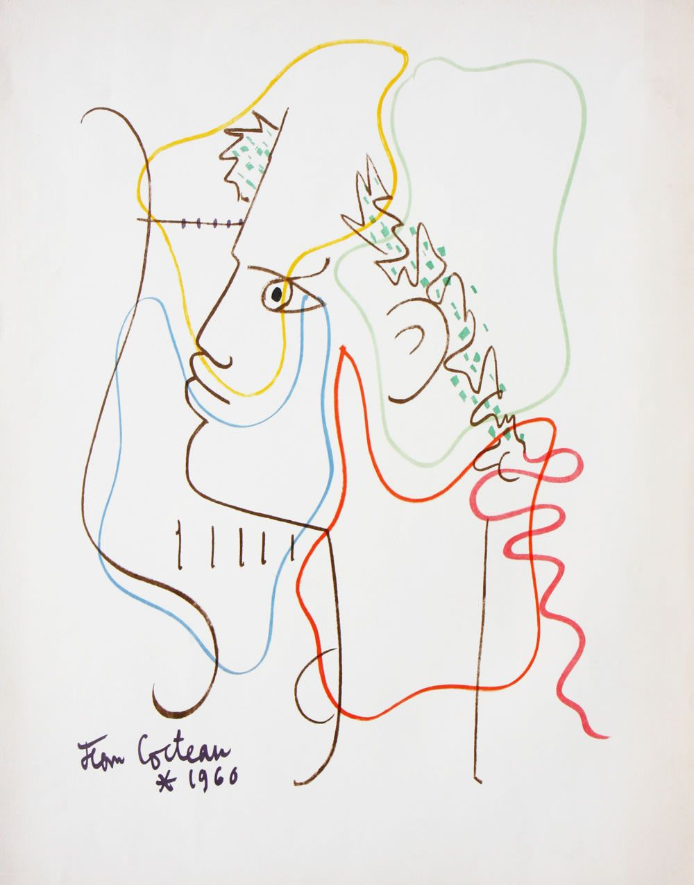 "tri-ciclo: "" Orpheaus Theme (71 x 47.5 cm, lithograph, 1960) Jean Cocteau """