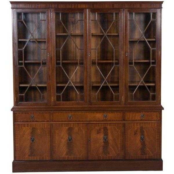 Bookcase With Glass Doors 1990 Liked On Polyvore Featuring