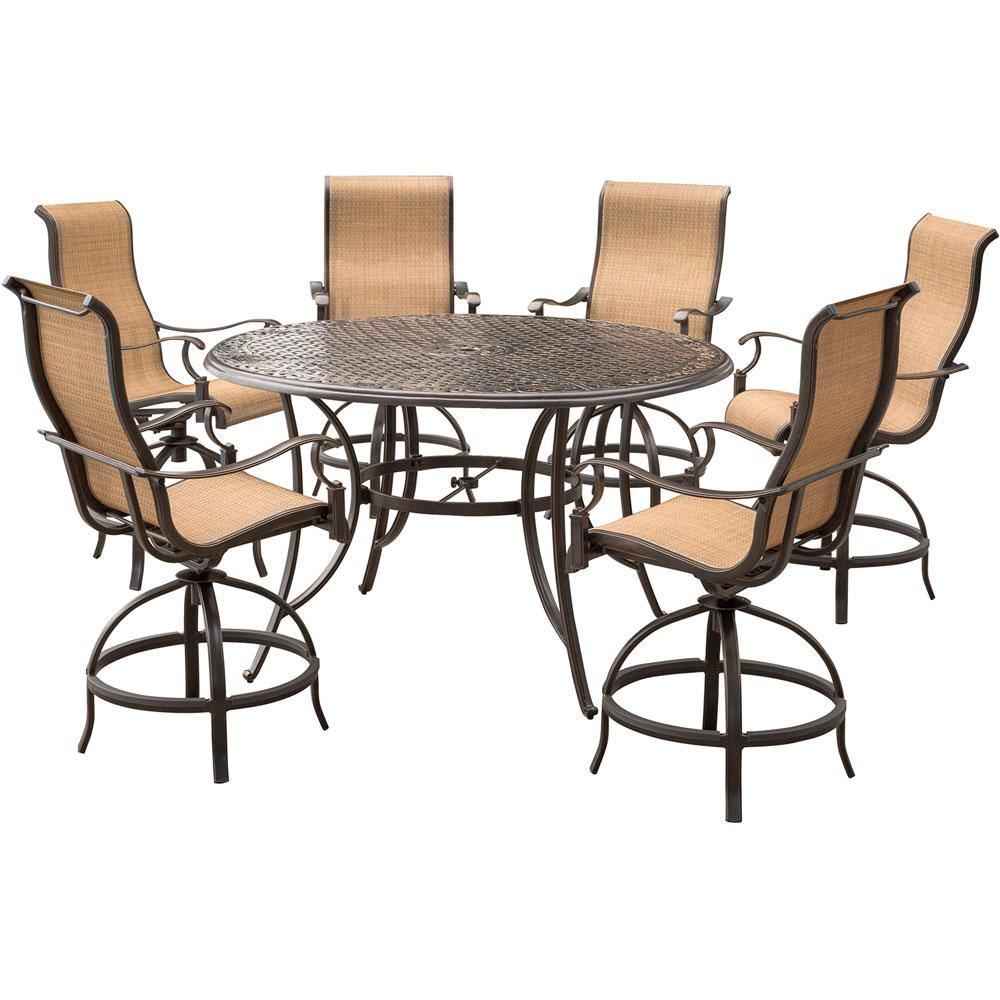 Hanover Manor 7 Piece Aluminum Round Outdoor High Dining Set With