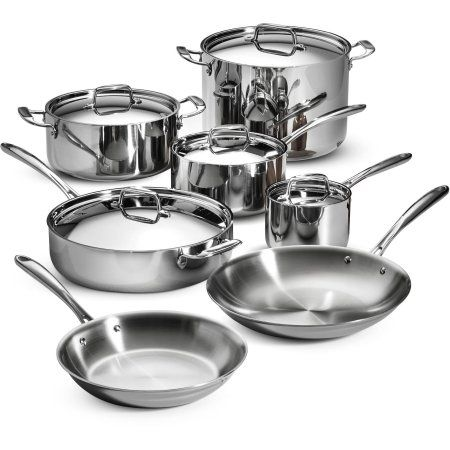 Tramontina 12-Piece Tri-Ply Clad Cookware Set, Stainless