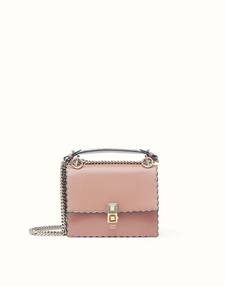 c32957ce25 FENDI KAN I SMALL - Pink leather mini-bag • Mini-bag with flap and ...