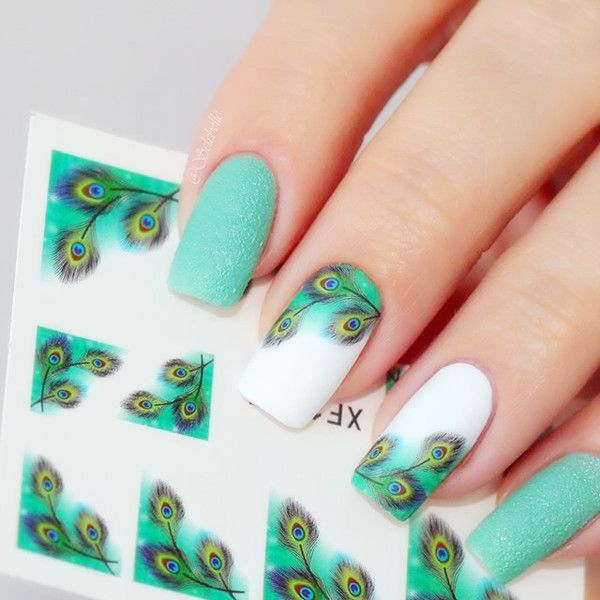 $1.72 1sheet Fancy Colorful Feather Eyes French Edge Nail Water Decals Sticker Transfer Stickers B105/B10 - BornPrettyStore.com