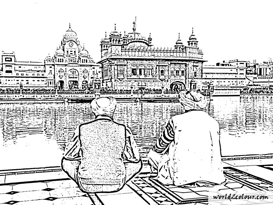 B/&W 4 Part Sikh Canvas Prints of Golden Temple Amritsar for Living Room