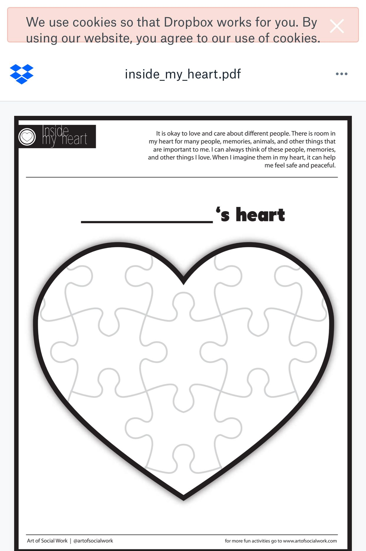 This Heart Puzzle Is A Great Tool To Help A Child Cope With A Change In Their Life They C Coping Skills Activities Valentine Activities Art Therapy Activities